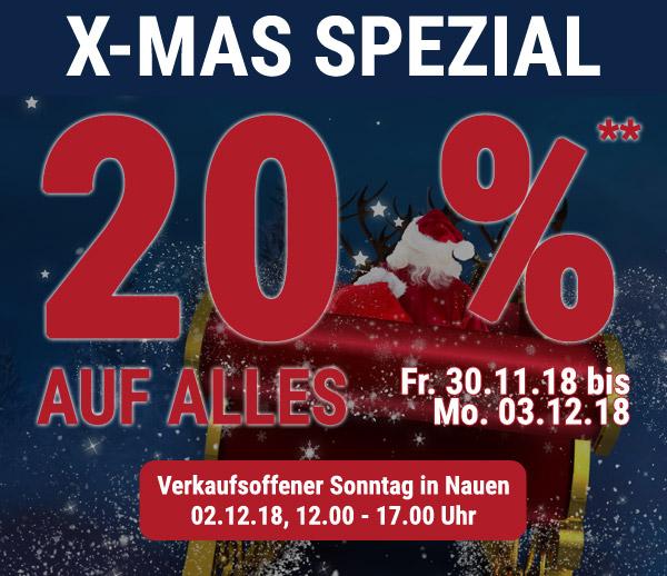 X-MAS Spezial: 20 % auf ALLES**!